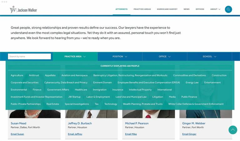 Jackson Walker attorney landing page filters