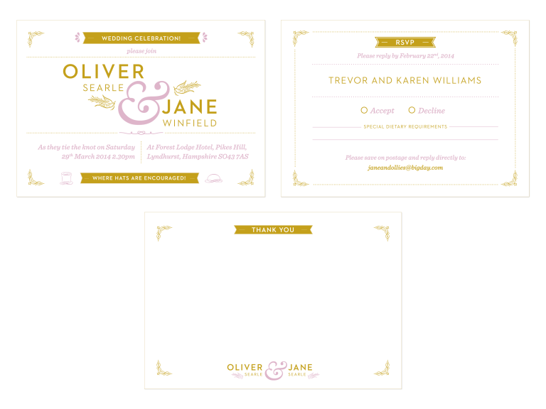 Jane and Ollie Wedding stationery