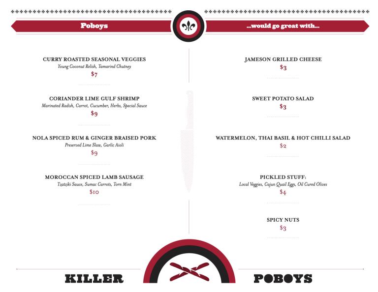 Killer Poboys menu back