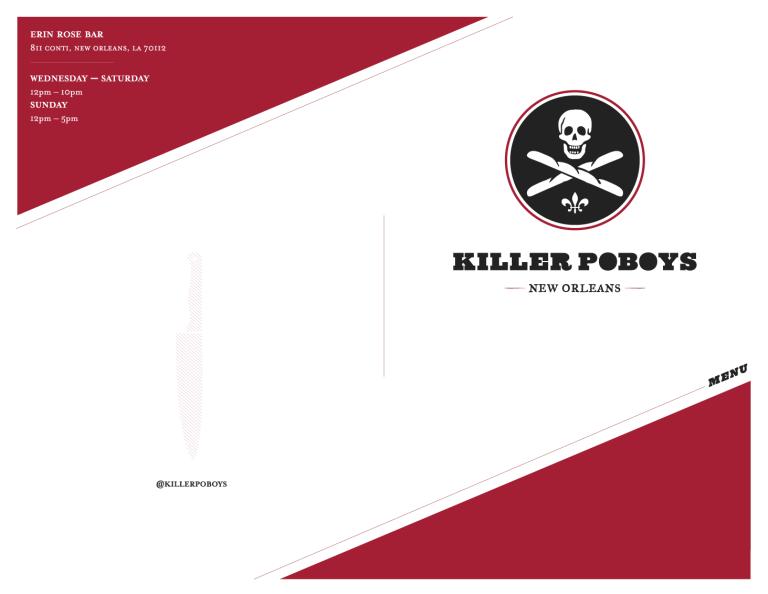 Killer Poboys menu front
