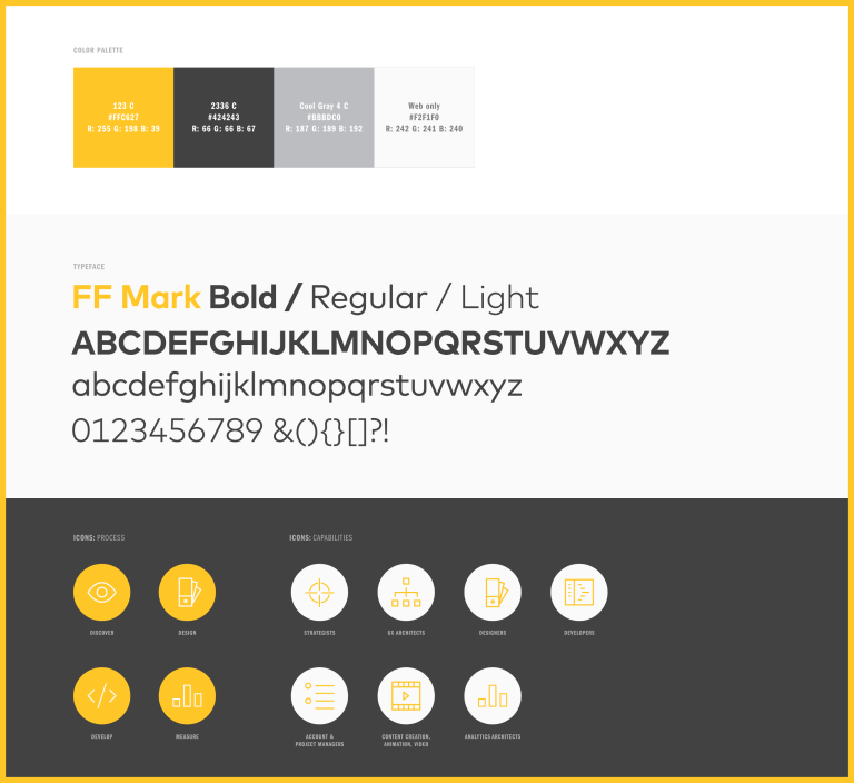 Architect color, typography, and icon sets