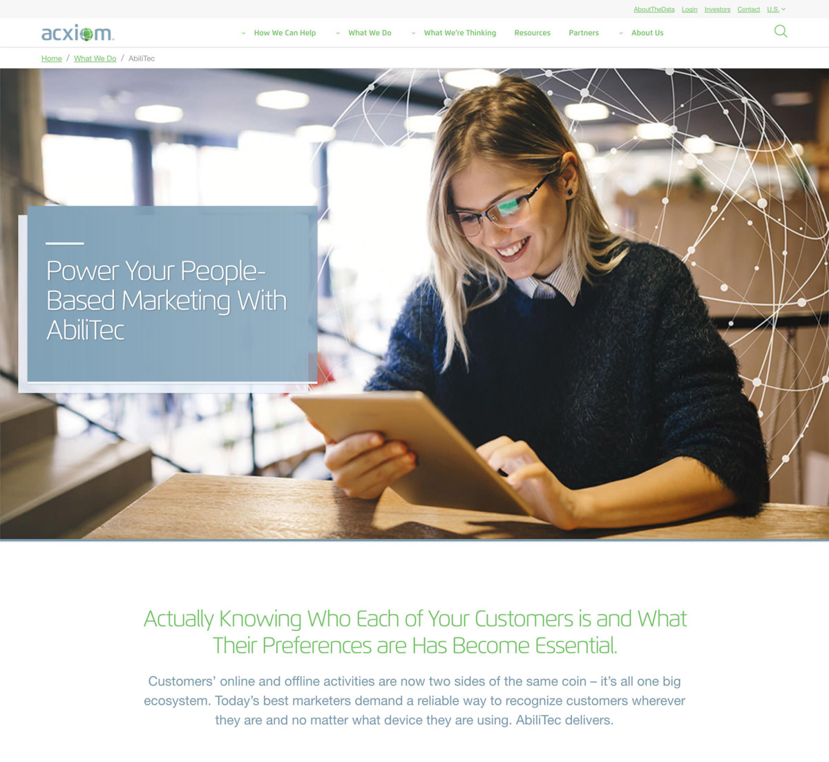 Acxiom product page hero banner