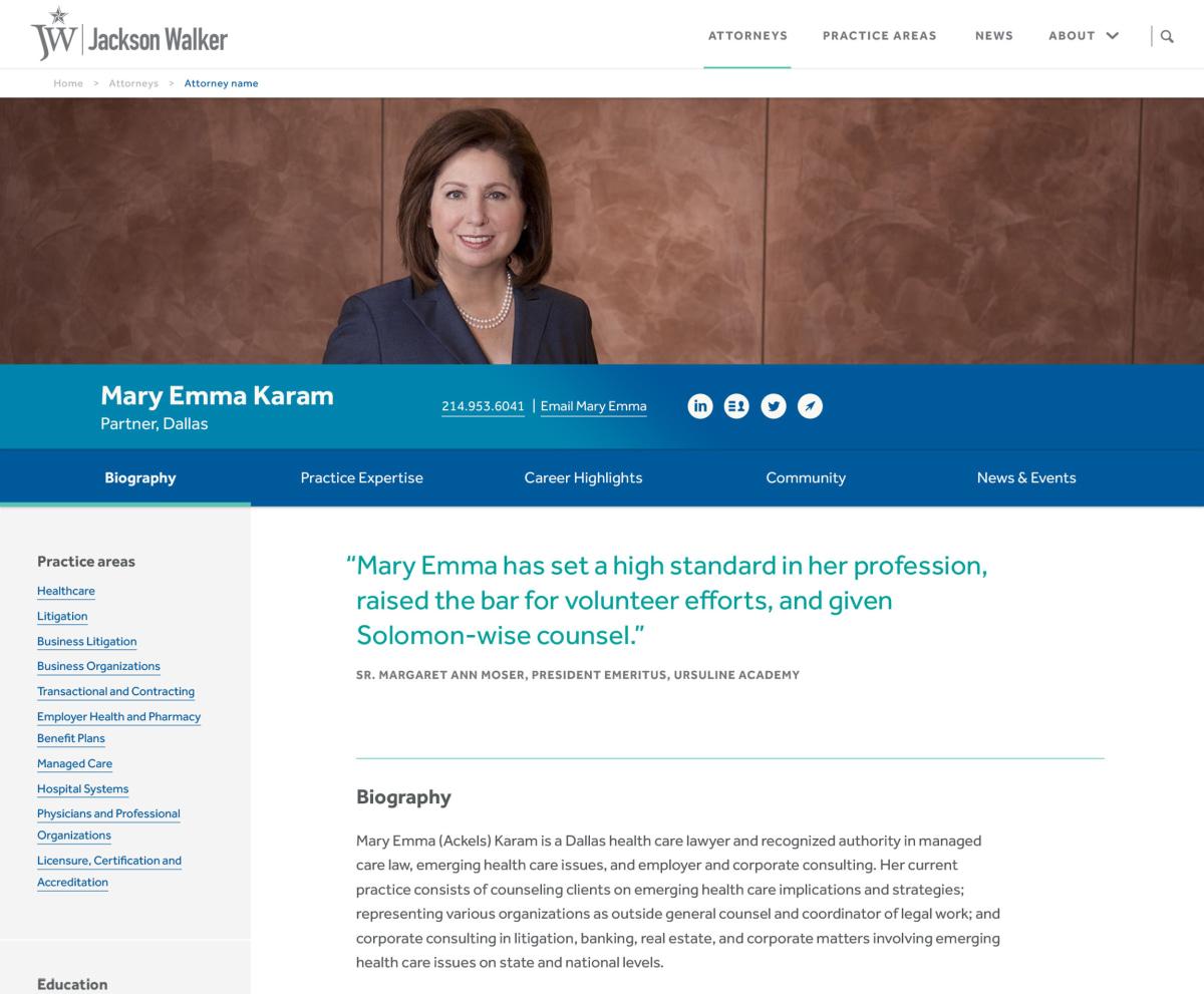 Jackson Walker attorney page