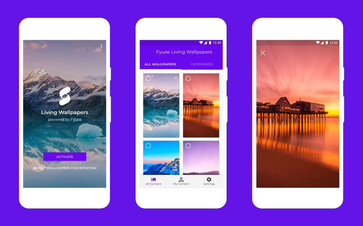 Living Wallpapers app UI