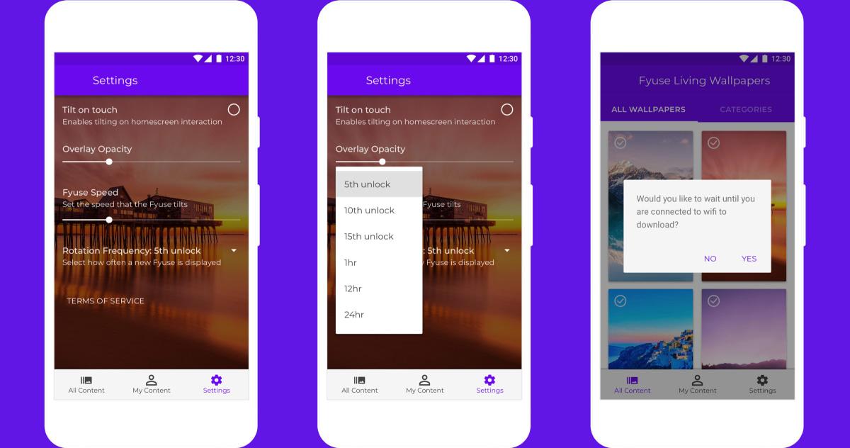 Living Wallpapers app UI