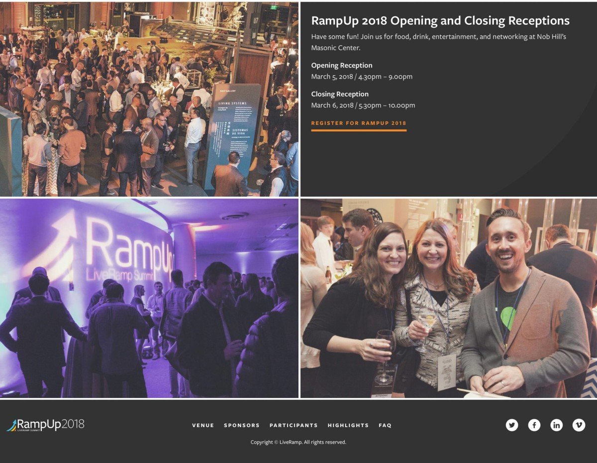 RampUp Events home page