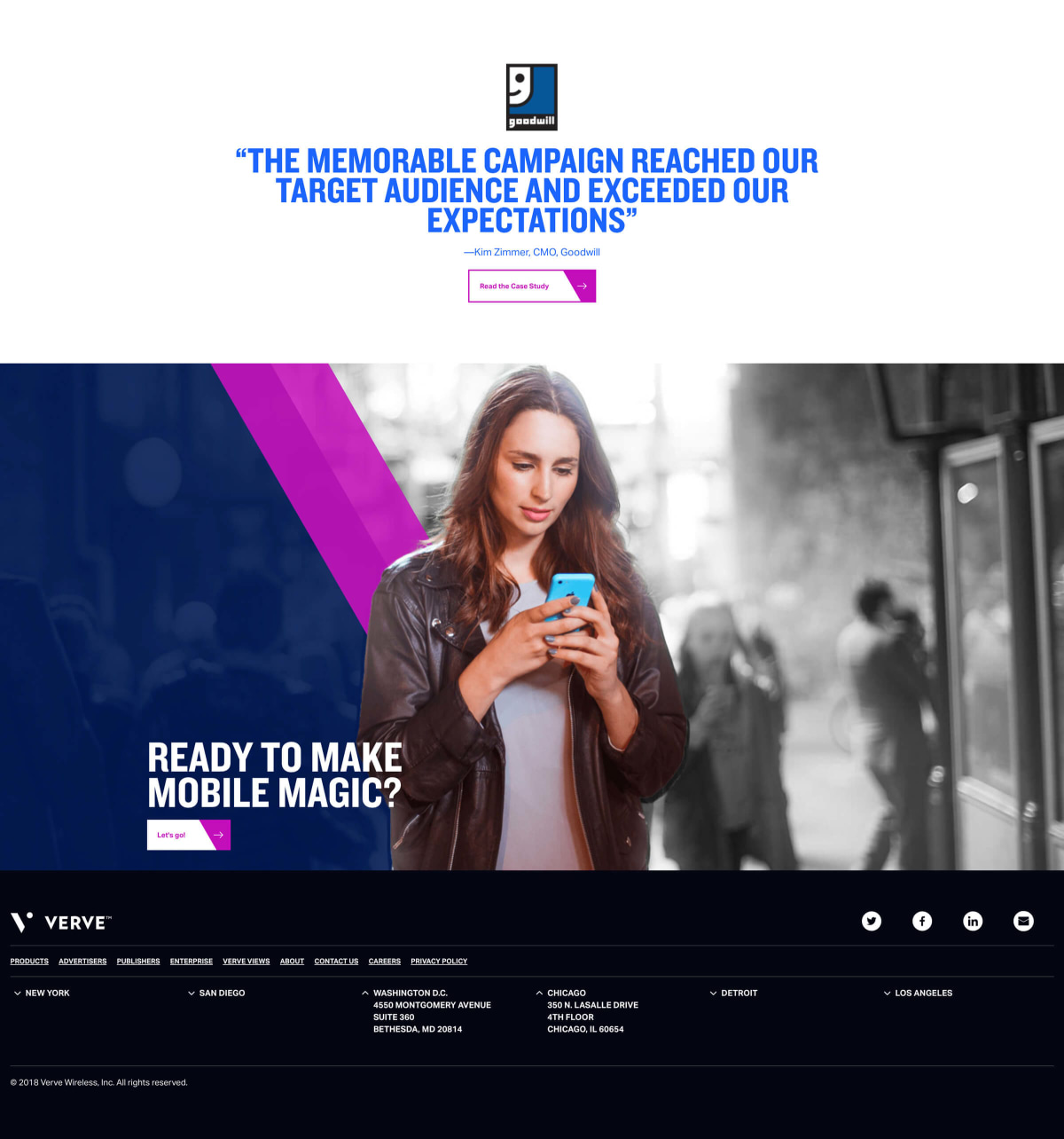 Verve home page testimonial