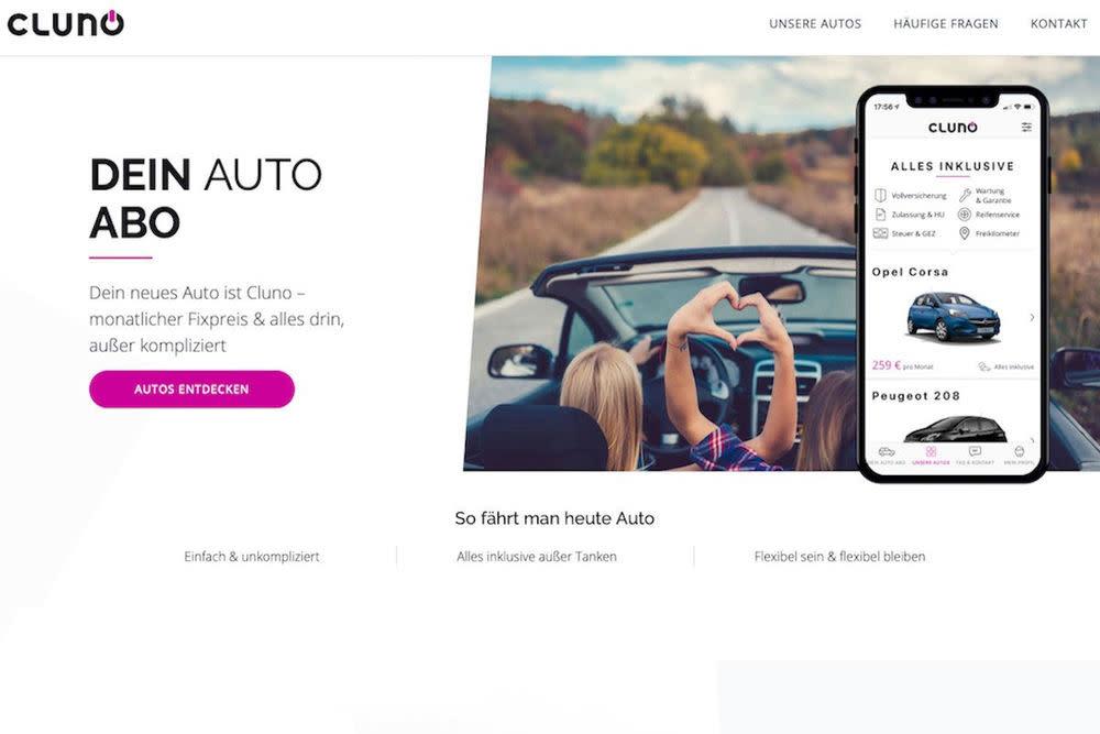 Mit der App von Cluno kann man sein Auto per Klick bestellen.