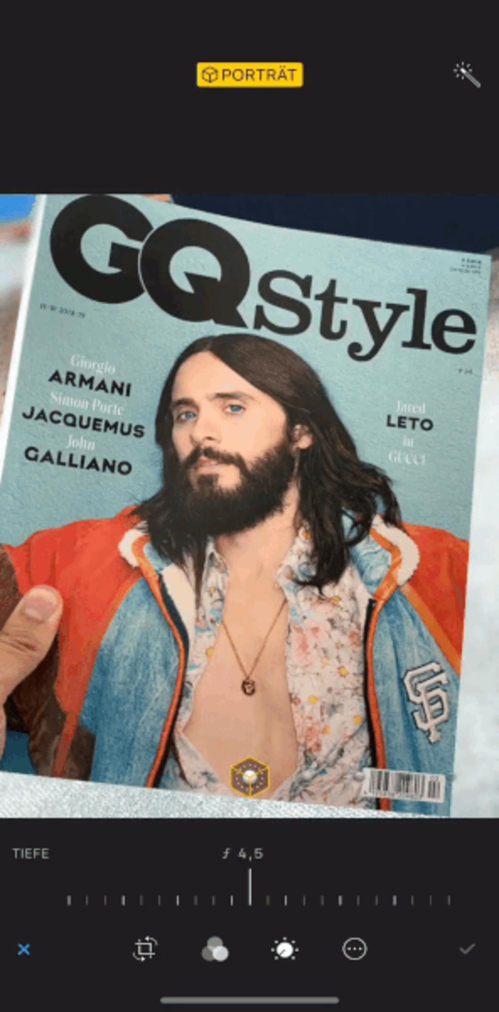 Der Bokeh-Effekt funktioniert sogar mit dem Cover der GQ-Style.