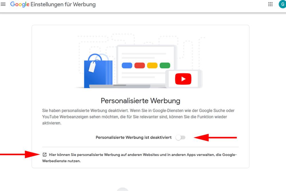 Google, Daten löschen, Personalisierte Werbung