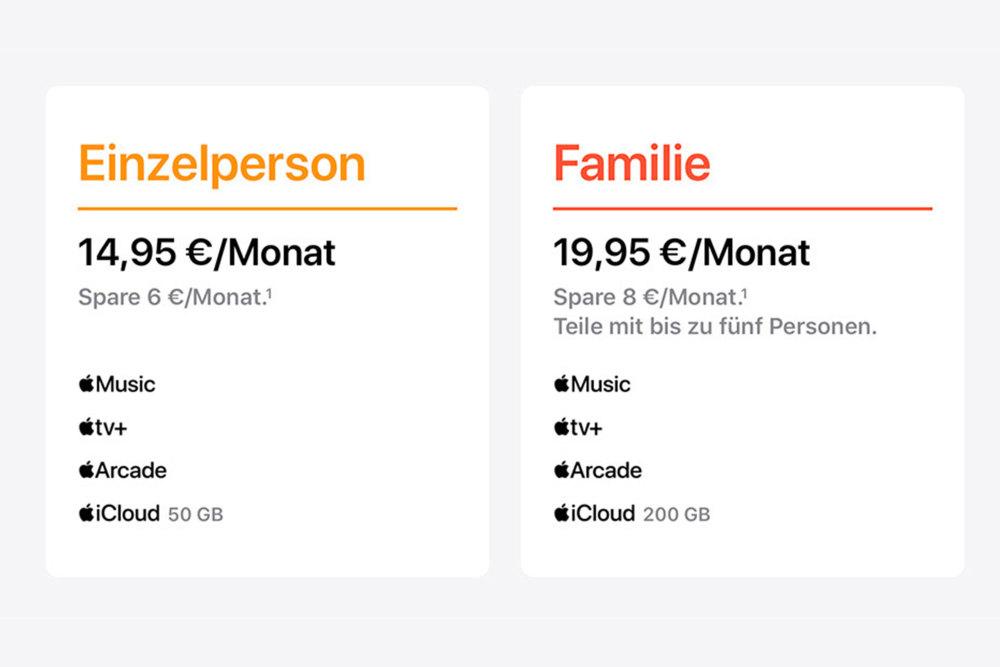Zu diesen Preisen startet Apple One in Deutschland