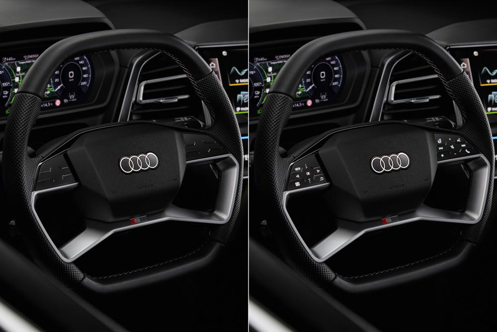 Das Lenkrad des Audi Q4 e-tron setzt auf eine Touch-Bedienung.