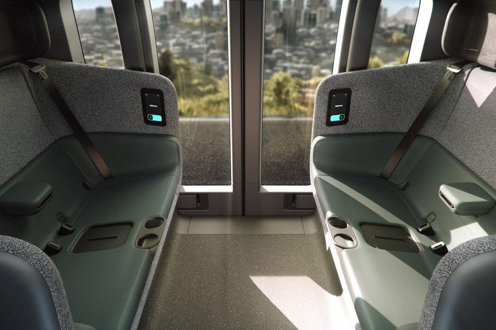 Das autonome Fahrzeug Zoox kann vier Passagiere befördern.
