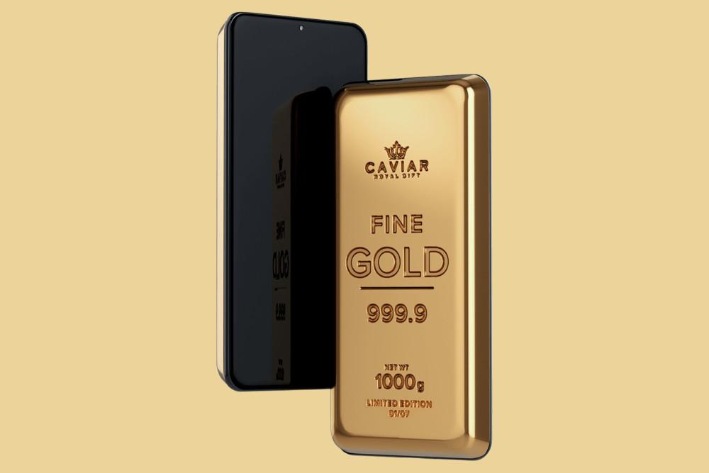 Das Samsung Galaxy S21 Ultra Smartphone von Caviar besteht aus 24-karätigem Gold.