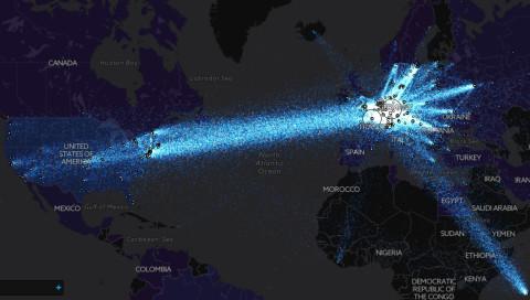 TorFlow visualisiert den Datenfluss des Tor Projects um die ganze Welt