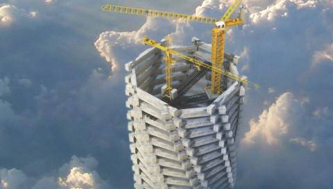 Jeder Stein in diesem Mahnmal-Konzept eines Wolkenkratzers steht für einen toten WM-Arbeiter in Katar
