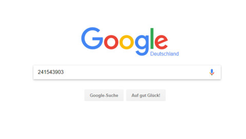 Das passiert, wenn man 241543903 googelt