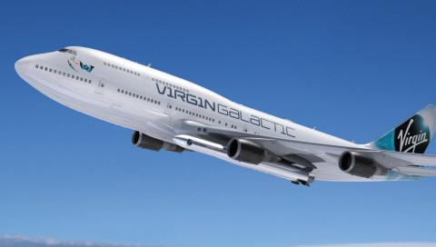 Richard Branson stellt sein Satelliten-Trägerflugzeug vor