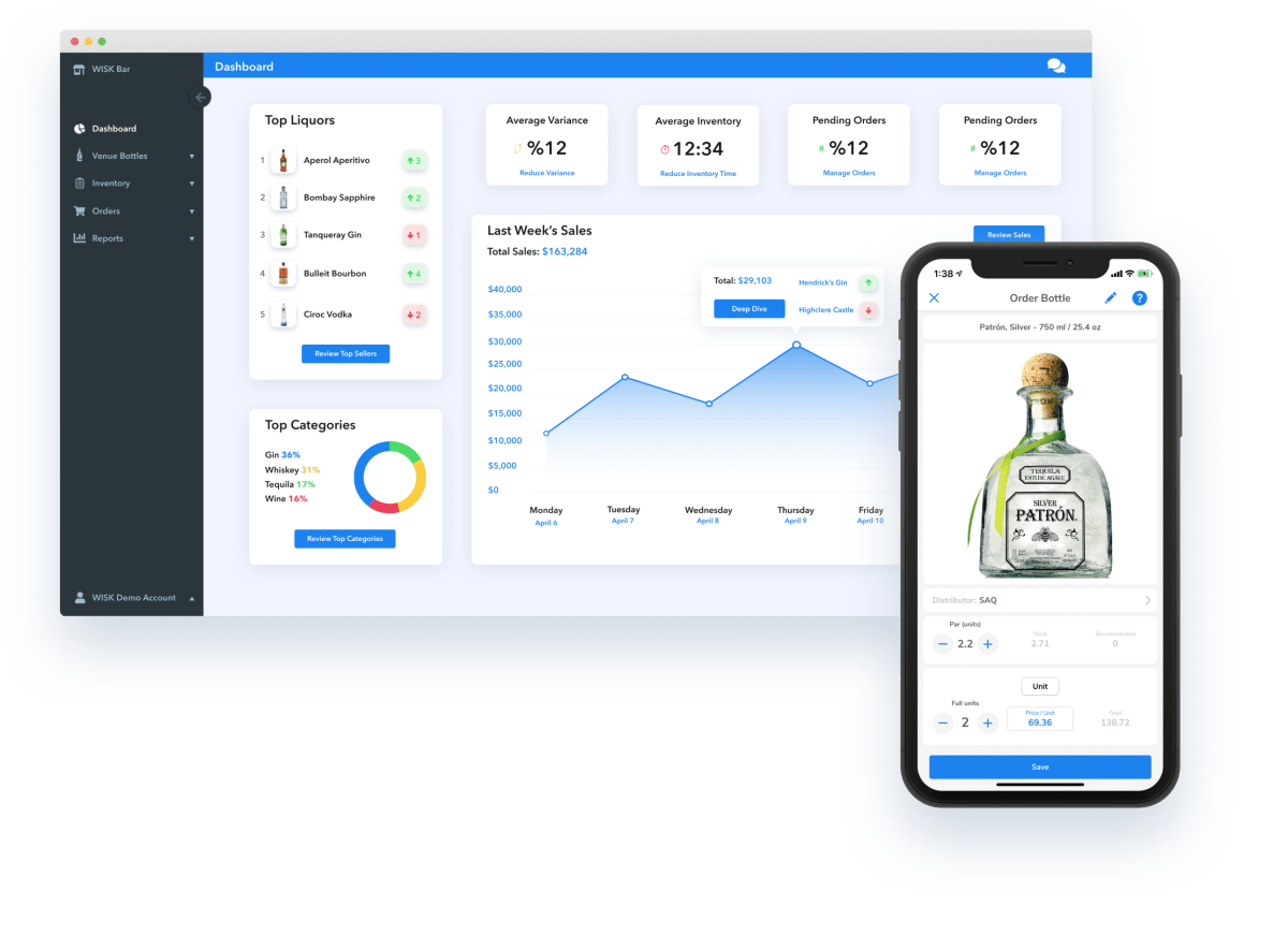 iphone screen, liquor bottle, orders, sales, chart, wisk, podcast, data, order inventory, bar inventory, beverage analytics, bar software, bar management podcast, restaurant industry podcast