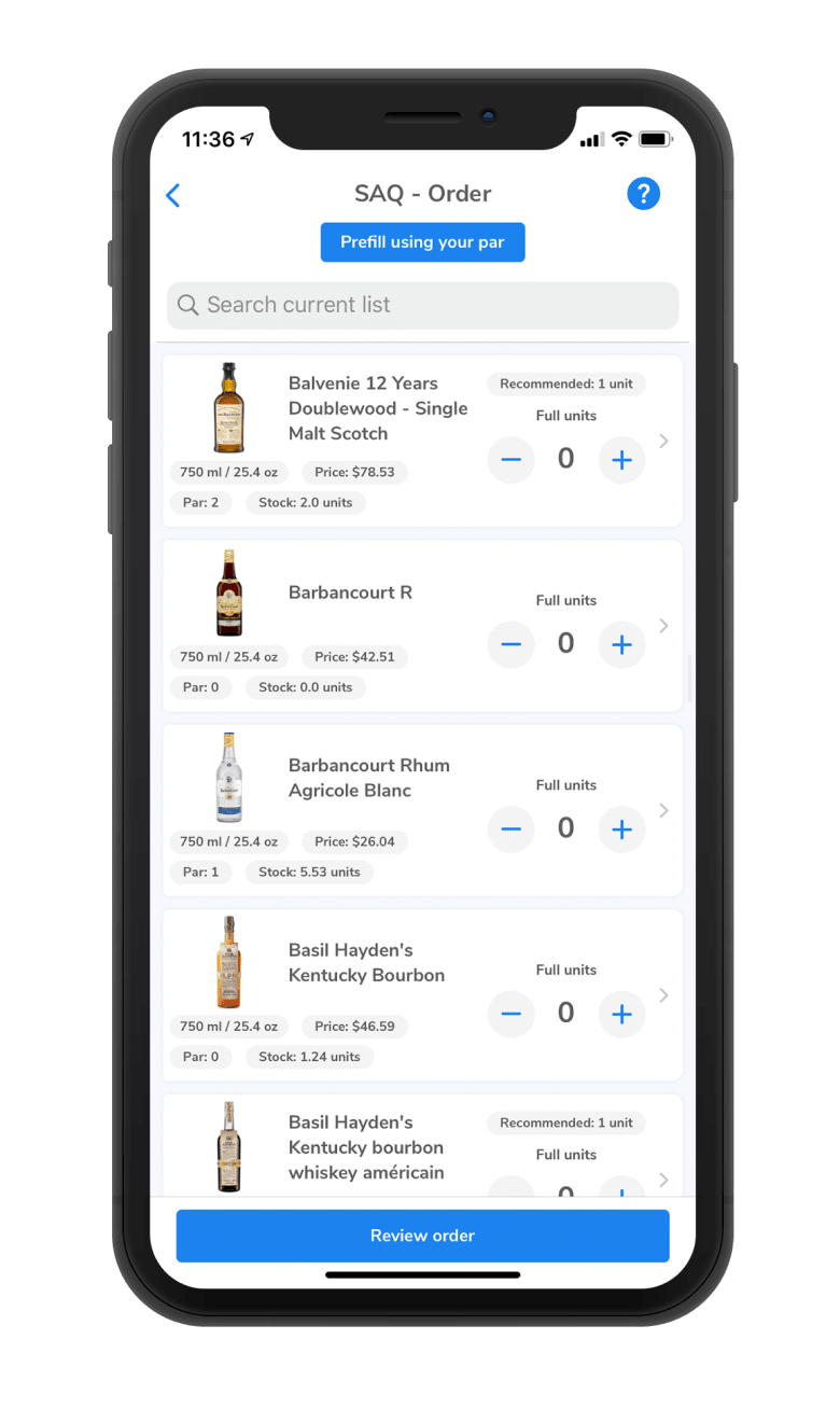 phone, screen, mobile, inventory list, liquor inventory, order software, wisk
