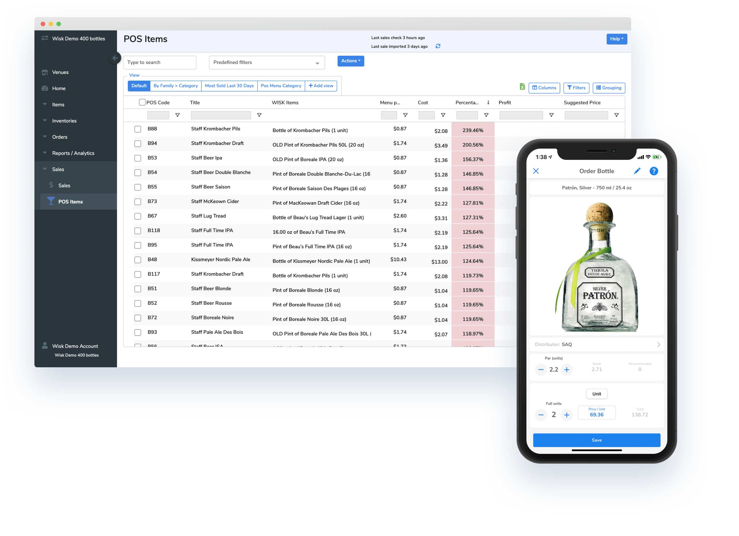 iphone, patron, liquor, bottle, screen, beverage cost software, wisk