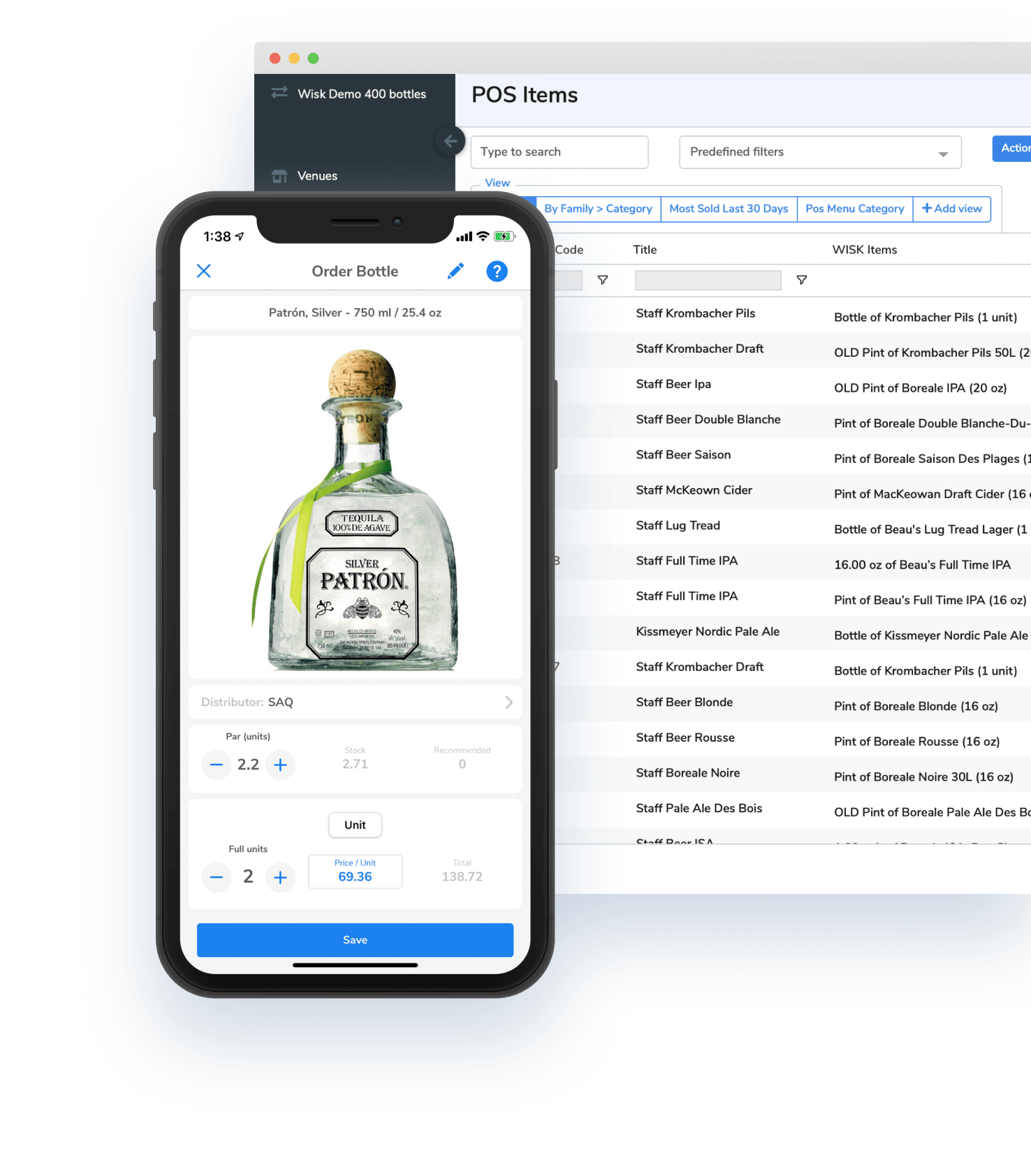 iphone, patron, liquor, bottle, screen, wisk, beverage cost software