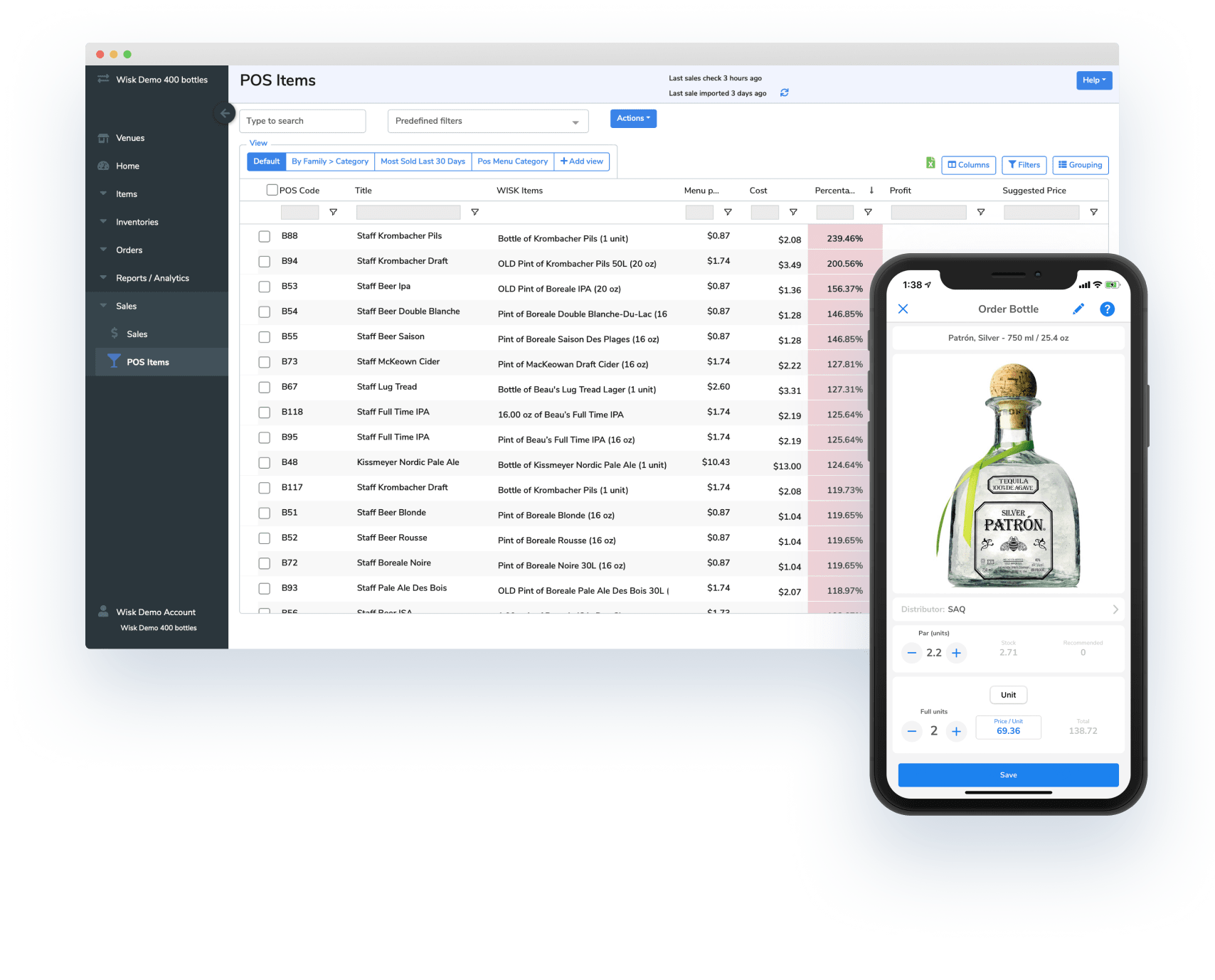 iphone, patron, liquor, bottle, screen, beverage cost software