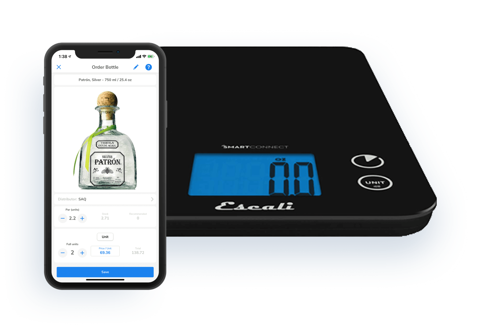 iphone, scale, liquor, inventory scale, bluetooth, beverage cost software