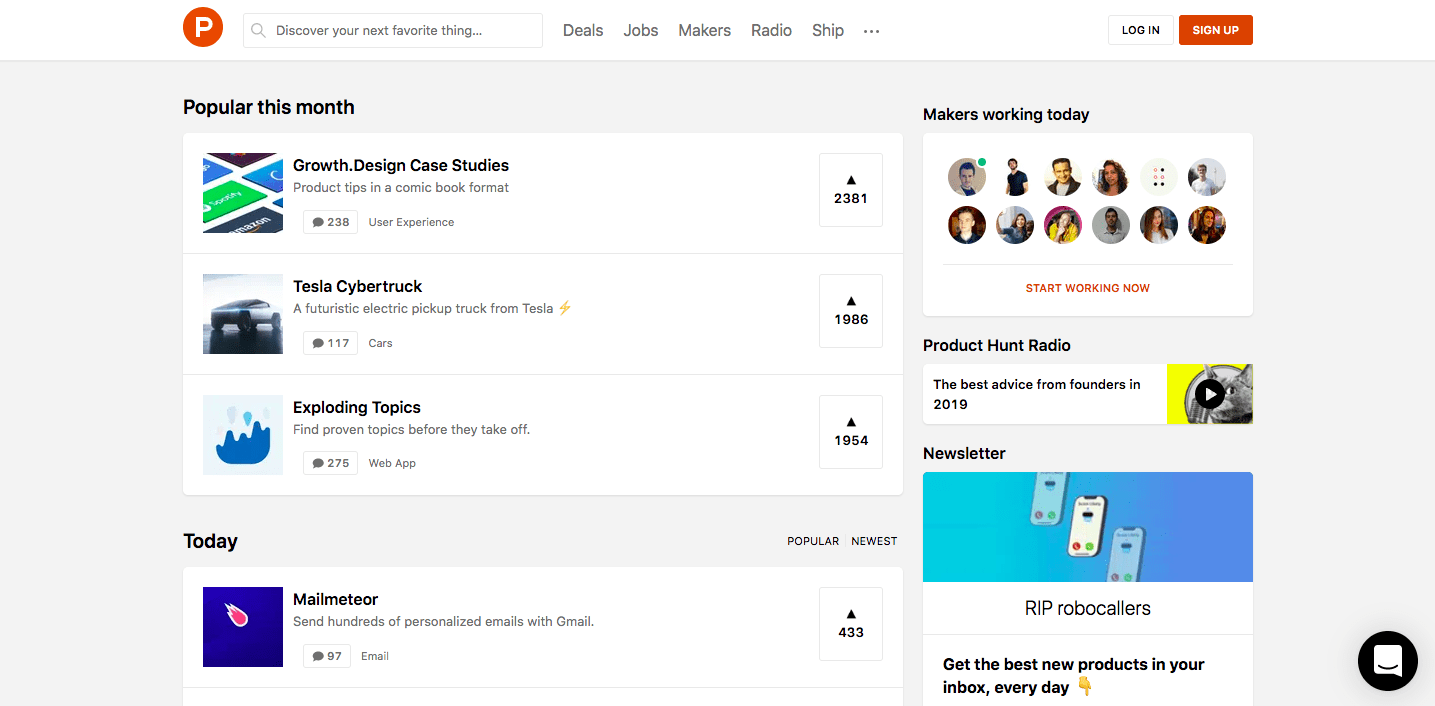 product hunt, website, screenshot