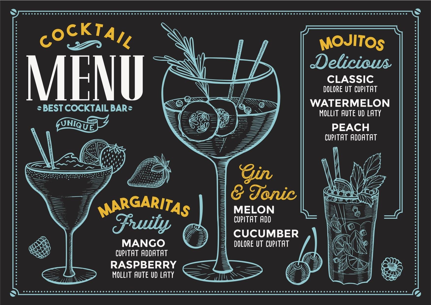 menu, cocktails, alcohol inventory software, wisk