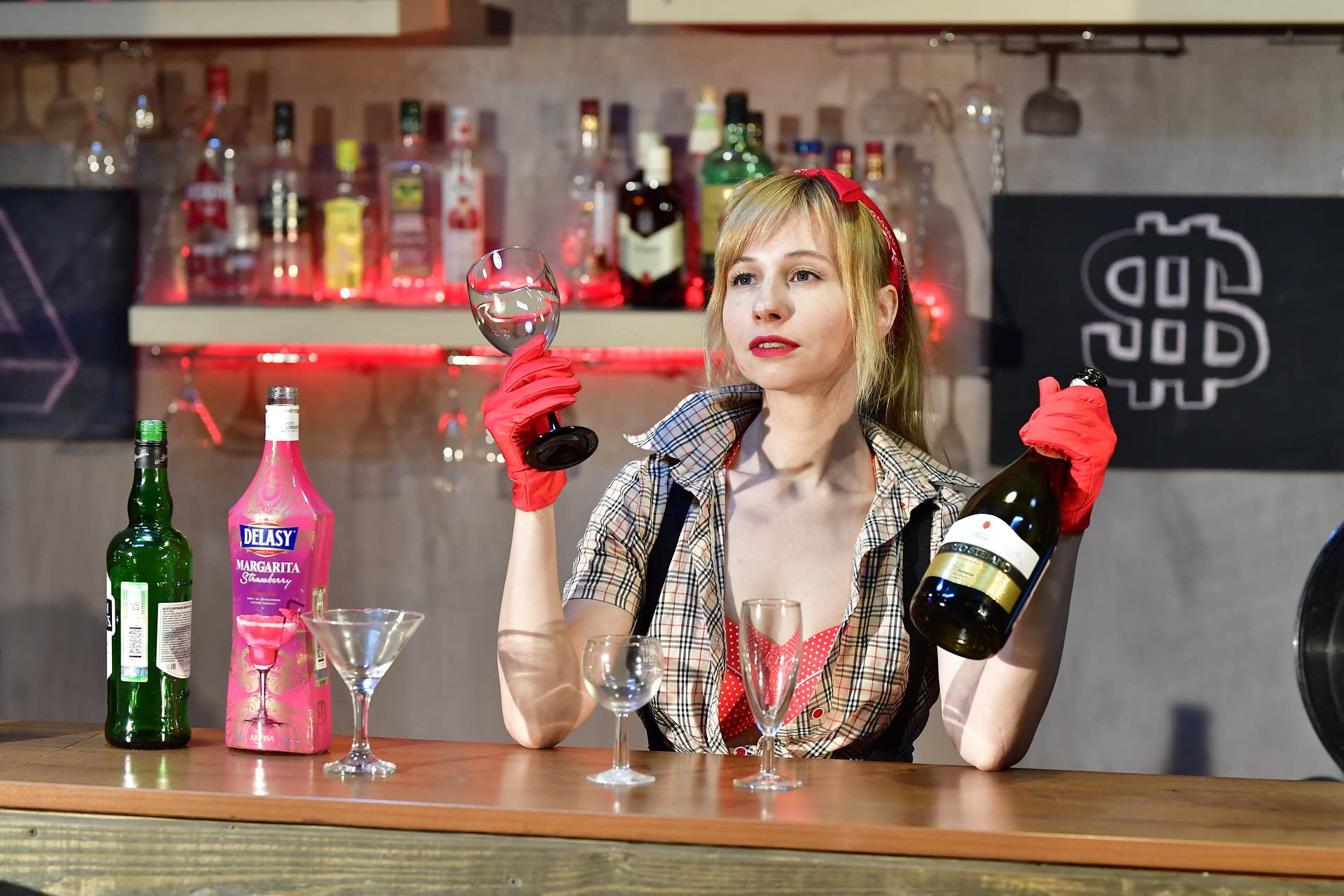 woman, bartender, liquor bottles, bar equipment, wisk