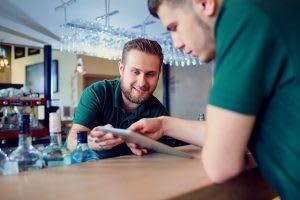 men, bar, table, tablet, touchbistro inventory management, wisk