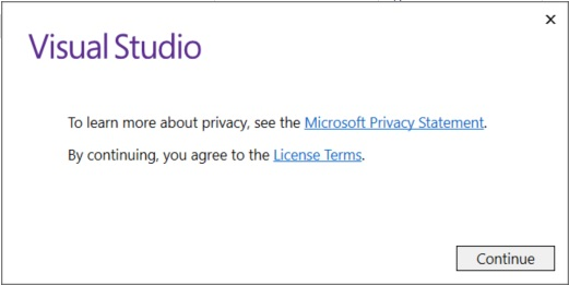 Visual Studio 2017 Privacy and Licence Terms