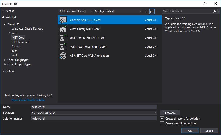 Visual Studio 2017 C# project templates