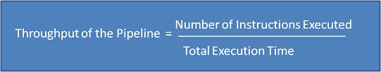Throughput of a pipeline = Number of instructions executed / Total execution time