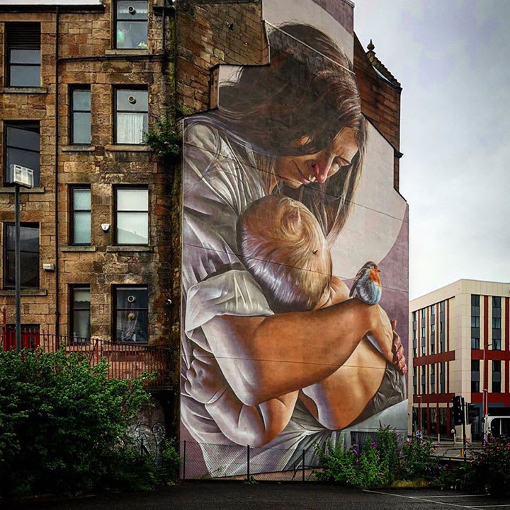 Saint Enoch and Child by Smug – located on High Street