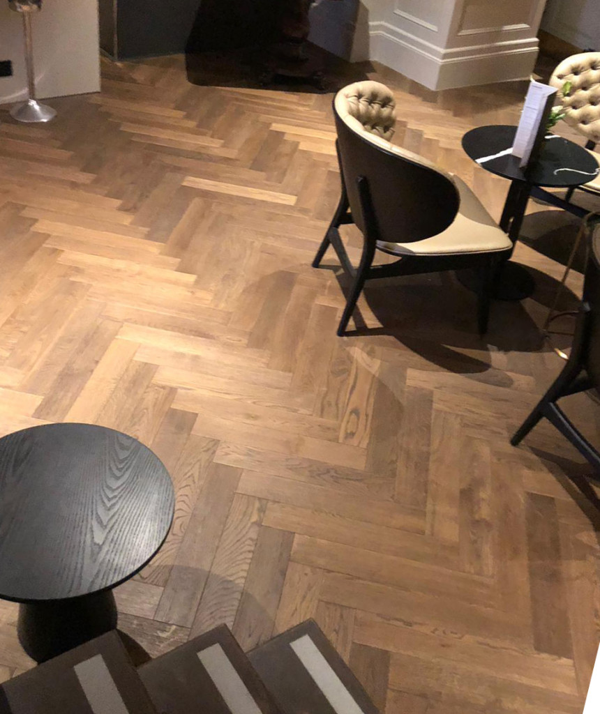 solid oak herringbone