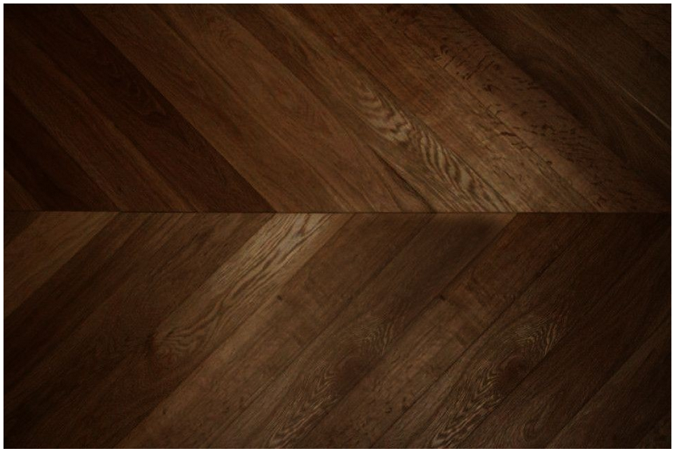 this dark chevron parquet engineered wood flooring has been coffee brushed which makes it a really dark and interesting solution for any room in the home - Dark Wood Flooring