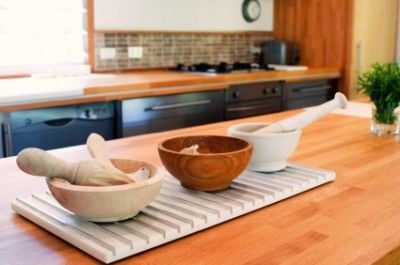 solid oak worktops in a well-lit kitchen
