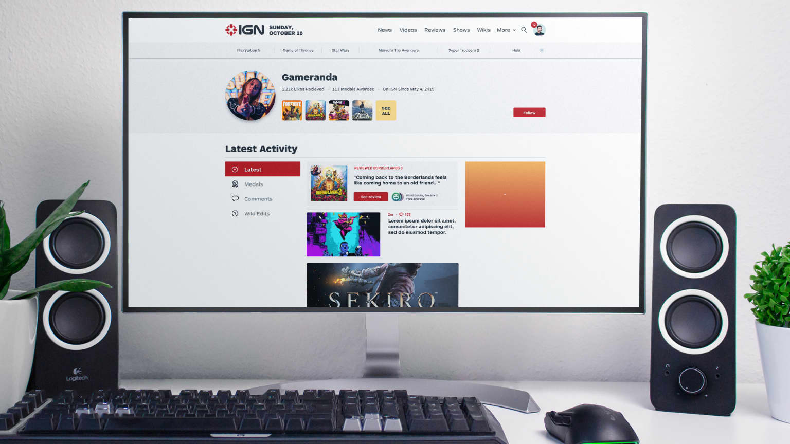 IGN User profiles and entertainment properties