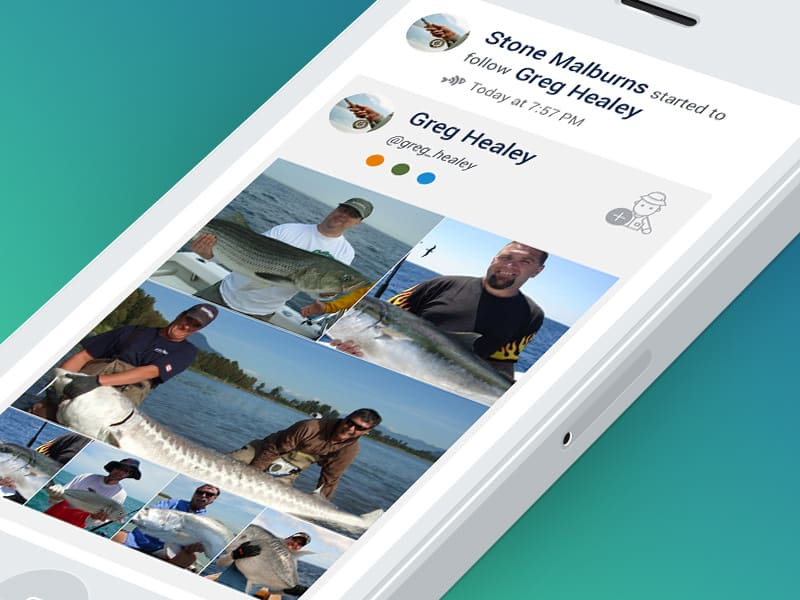 Part of mobile view of new social site for fishermen