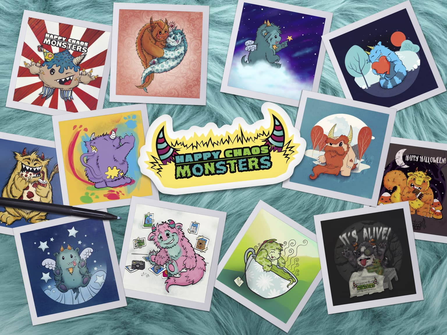 Happy Chaos Monsters Illustrations & Coloring Book