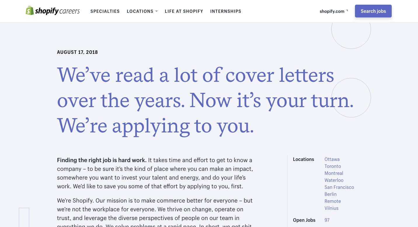Shopify Careers Website