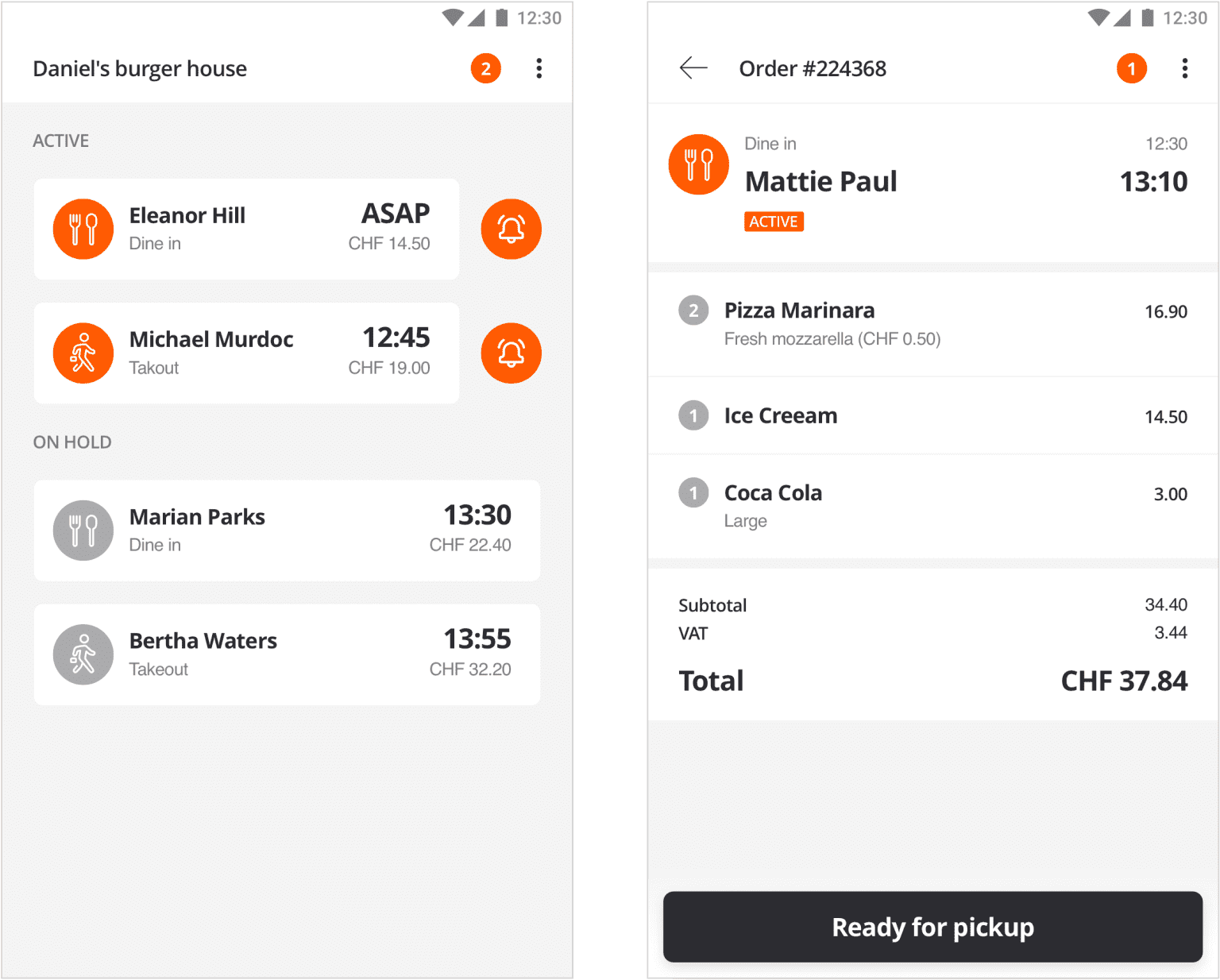 Designed an order reception and management solution for a hectic restaurant environment that accomodates multiple order types in a single, simple interface.