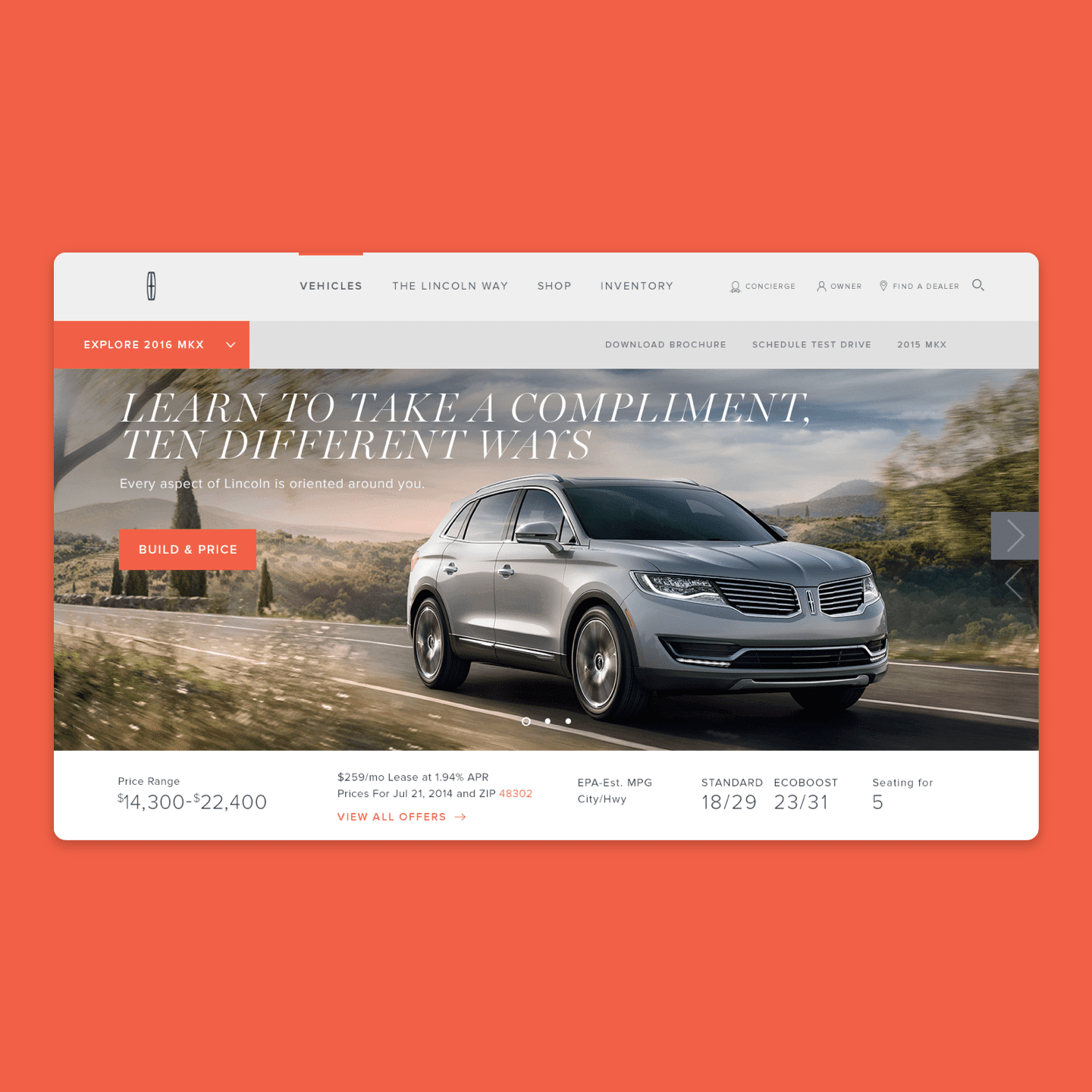 LINCOLN.COM VEHICLE HOMEPAGE