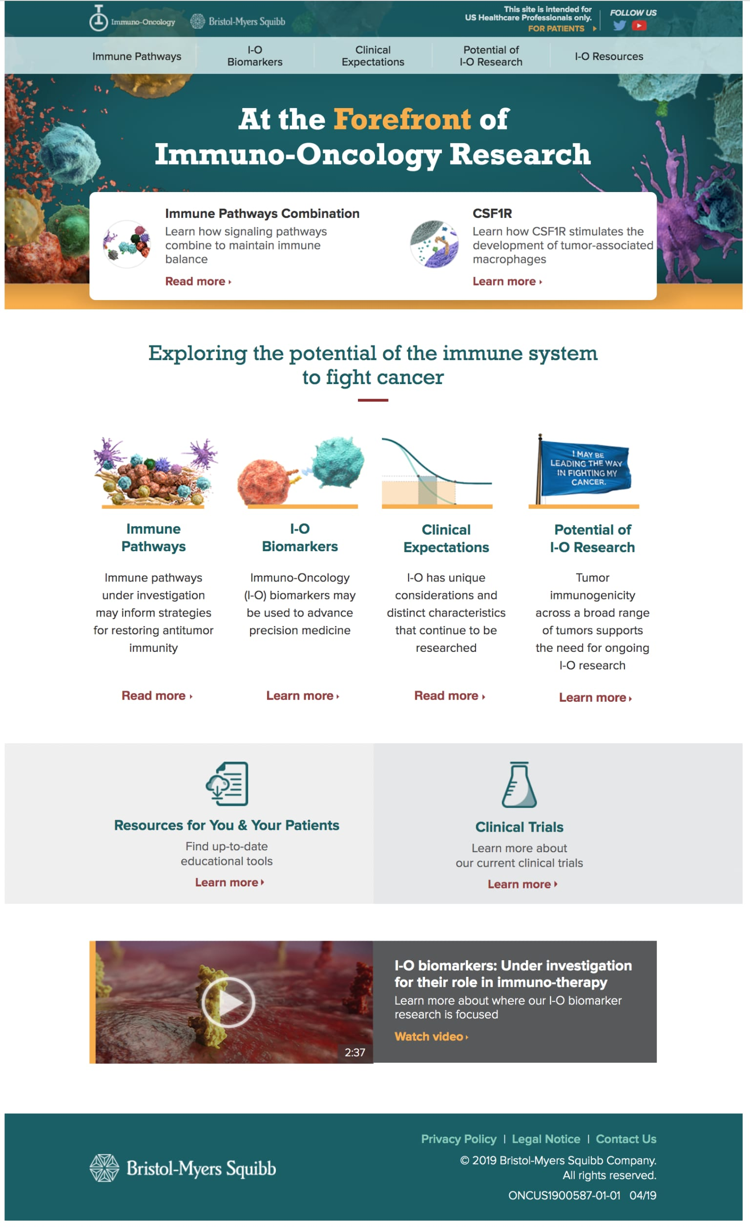 Bristol Meyers Squibb Immuno-Oncology Web Site Redesign - for HCP's