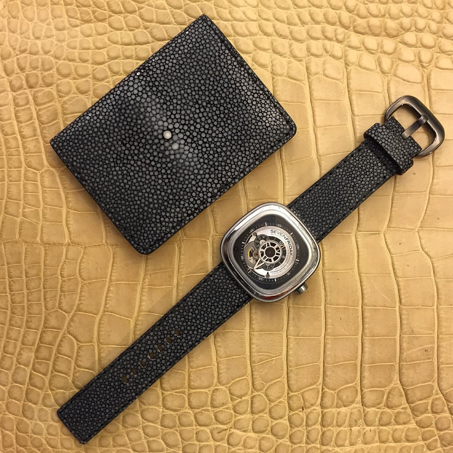 Polished Stingray Wallet and Watch Strap