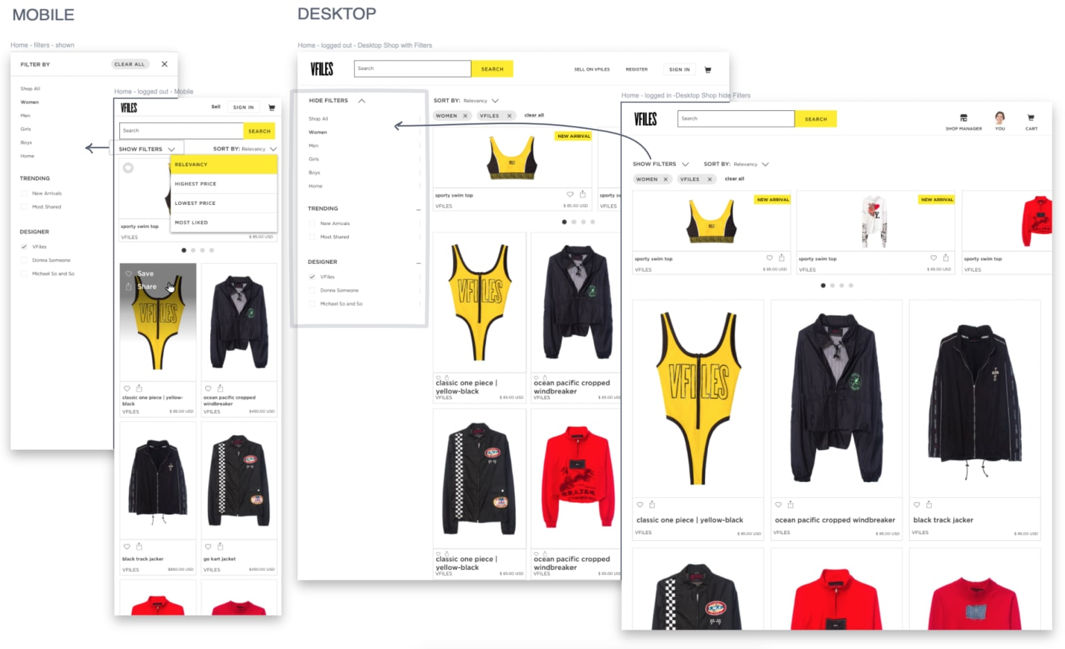 VFiles Ecommerce Site Redesign