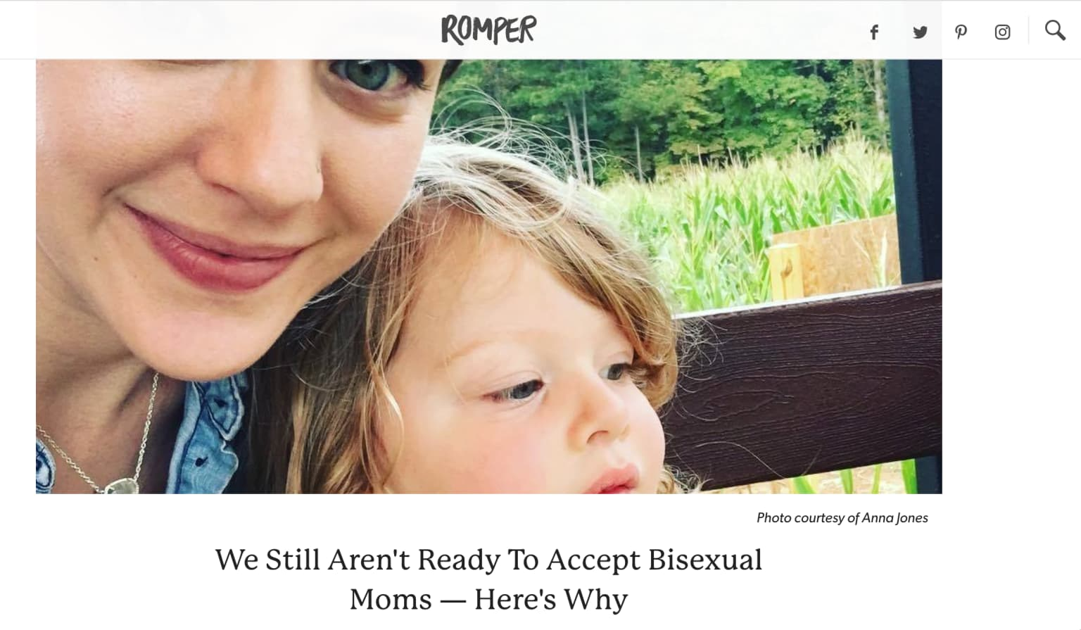 Bisexual mom article for Romper, a division of Bustle