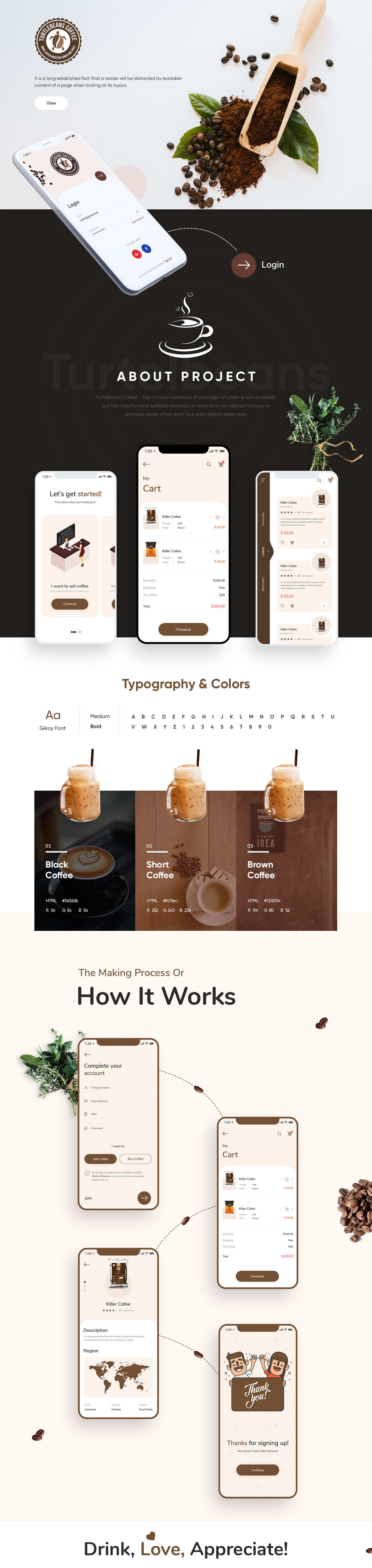 Turtlebeans Coffee - Mobile App Design